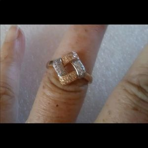 Sterling silver rose gold duo ring size 6.5